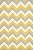 Safavieh Dhurries Collection DHU640A Hand Woven Gold and Grey Premium Wool Area Rug (4′ x 6′)