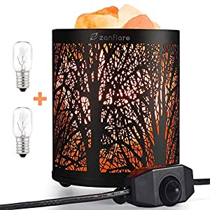 Natural Himalayan Salt Lamp, Zanflare Air Purifying Crystal Salt Rock Lamp Night Light With Forest Design Metal Basket, Dimmable Touch Switch, Holiday Birthday Mothers Day Gifts