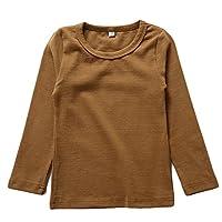 KISBINI Unisex Toddler Girls Long Sleeve Cotton Tees Kids T-Shirt Coffee 5T