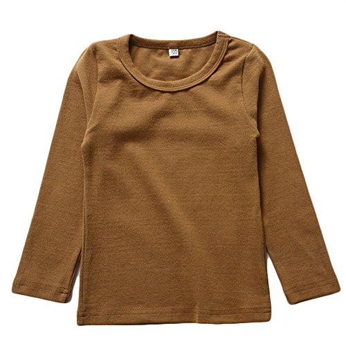 (KISBINI Unisex Toddler Big Girls Long Sleeve Cotton Tees Kids T-Shirt Coffee)