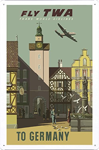 tin-sign-of-retro-vintage-travel-poster-fly-twa-to-germany-20x30cm-by-nature-scene-painting