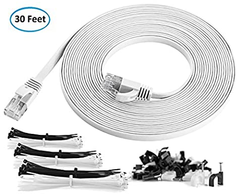 Maximm Cat6 Flat Ethernet Cable - 30 Feet - White - High Speed Internet Lan Cable with Snagless RJ45 Connectors For Fast Computer Networking + Cable Clips and - Cable Usb Rj 45 Connector