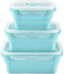 URBEST Collapsible Bowls, Silicone Food Storage Containers with Lids for Camping, Set of 3 Rectangular Silicone Lunch Containers, Microwave and Freezer Safe (Blue, 3)