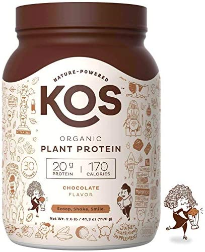 KOS Organic Plant Based Protein Powder Raw Organic Vegan Protein Blend, 2.6 Pound, 30 Servings Chocolate