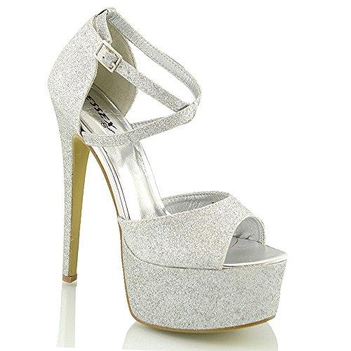 ESSEX GLAM Womens Strappy Ankle Strap High Heel Platform Sandals (7 B(M) US, Silver - Glamour High Heel Platforms