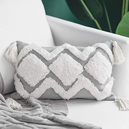 blue page Tribal Boho Decorative Throw Pillow Covers for Couch Sofa Bedroom Living Room - Modern Tufted Cushion Cover with Tassels, Cute Pillow Case for Lumbar (12X20 inch, White ()