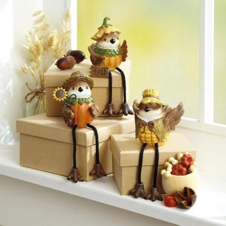 Current Autumn Bird Sitter Resin Figurines - Set of 3