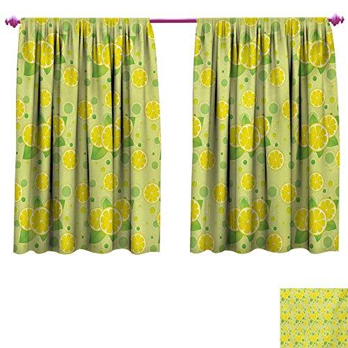 cobeDecor Vintage Waterproof Window Curtain Lemon Lime Pattern in Retro Vintage Style Citrus Fruit Circles Natural Image Waterproof Window Curtain W55 x L45 Yellow Green ()