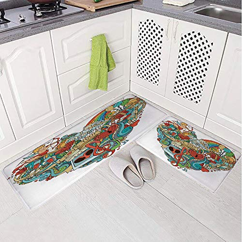 2 Piece Non-Slip Kitchen Mat Rug Set Doormat 3D Print,Music Present Boxes Swirls Balloons Ring Marry,Bedroom Living Room Coffee Table Household Skin Care Carpet Window Mat, ()