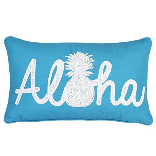 Thro by Marlo Lorenz 12x20 Aloha Pineapple Script Faux Linen Throw Pillow, Capri Breeze Bright White