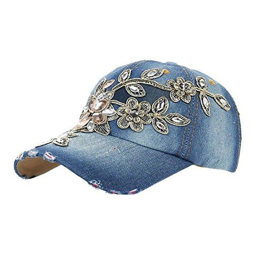 Deer Mum Ladies Denim Jean Campagne Bling Ajustable Baseball Cap Cowboy Hat(flower 1) (Denim Cowboy Hat)
