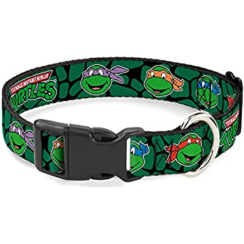 Buckle-Down Classic Tmnt Turtle Faces Black/Green Turtle Shell Plastic Clip Collar, Small/9-15