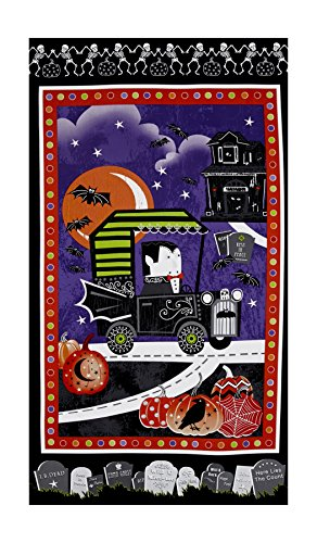 HENRY GLASS & CO. 0477632 Fangtastic Glow in The Dark 23.5in Halloween Panel Black,]()