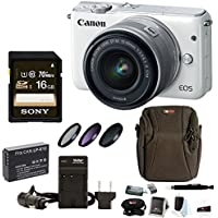 Canon EOS M10 Mirrorless Digital Camera with EF-M 15-45mm f/3.5-6.3 IS STM Lens (White) + 16GB SD Card Bundle Basic Facts Review Image