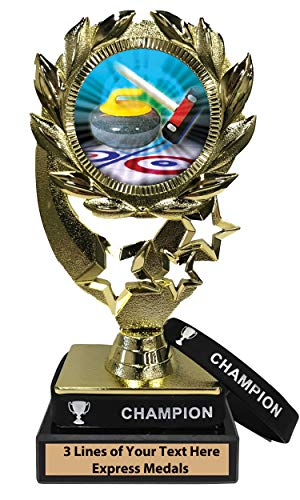 - Express Medals Curling Trophy with Removable Wearable Champion Wrist Band Marble Base and Personalized Engraved Plate