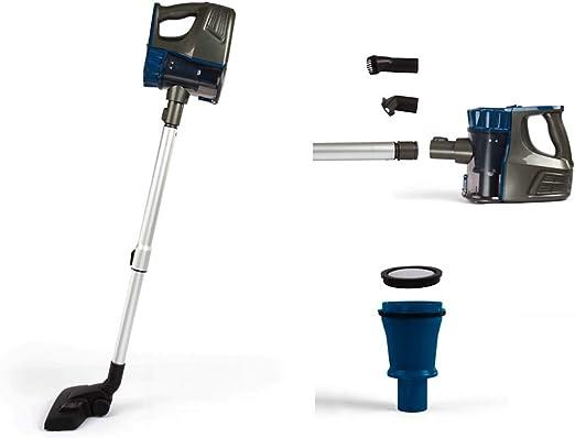 Aspiradora inalámbrica con batería, sin bolsa, soporte de pared, aspirador de mano, color azul: Amazon.es: Hogar