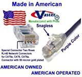 SuperEcable - USA-0675 - 120 Ft UTP Cat5e - Made in USA - PUEPLE – UL 24Awg Pure Copper – Ethernet Network Patch Cable