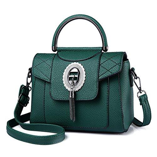 del bolso Botón Crossbody metal mujeres Verde cuero de moda Diseñador Luckywe mensajero bolsa bolsos Zwq606