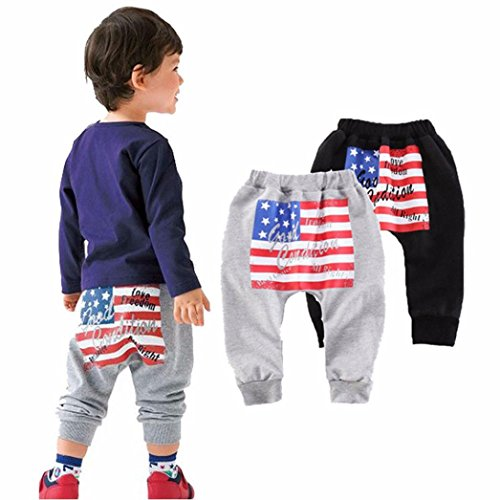 Baby Boys Long Sleeve Striped Tops Pants Trouser Outfit (Black+Grey) - 6