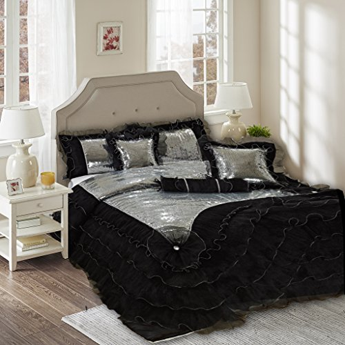Tache 6 Piece Night Out Black Silver Luxurious Comforter Set, King