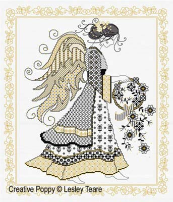 Blackwork Angel Cross Stitch Chart