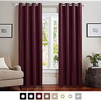 Vangao Burgundy Red Room Darkening Draperies 52x84 Inch 1 Panel Thermal Insulated Solid Grommet Top Window
