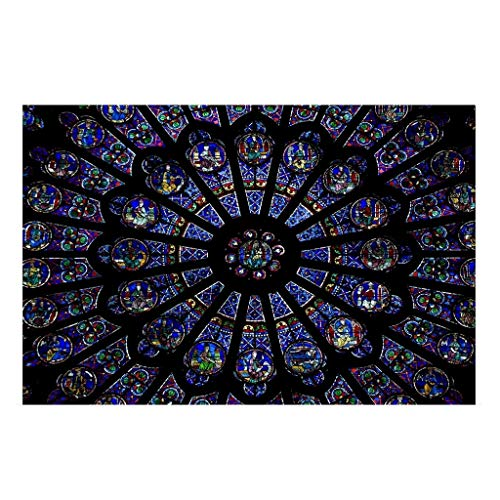 Fullwei Rose Window Cathedral Paris Photo Print Sticker Decorative Painting Notre Dame Hanging Painting Art Wall Decor (48x32cm)