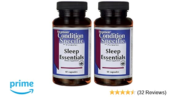 Amazon.com: Swanson Sleep Essentials -- 2 Bottles each of 60 Caps: Health & Personal Care