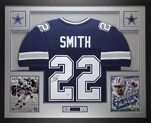 Emmitt Smith Hand Signed - Emmitt Smith Autographed Blue Cowboys Jersey - Beautifully Matted and Framed - Hand Signed By Emmitt Smith and Certified Authentic by Auto PSA COA - Includes Certificate of Authenticity