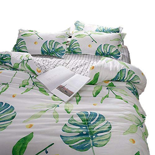 KFZ Bed Set (Twin Full Queen King Size) [Duvet Cover, Flat Sheet, Pillow Cases] No Comforter FD Flower Leaves Love Green Plants Design Kids Teens Sheet Sets (Grass Leaves, Green, King 86