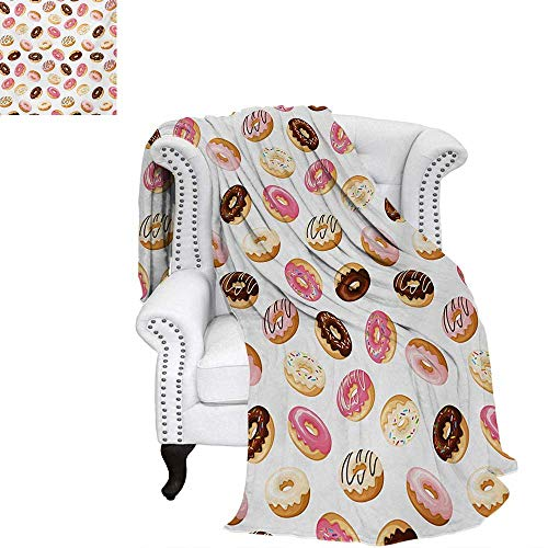 warmfamily Food Velvet Plush Throw Blanket American Traditional Classic Breakfast Fast Food Dessert Sweet Tasty Donuts Art Print Throw Blanket 50