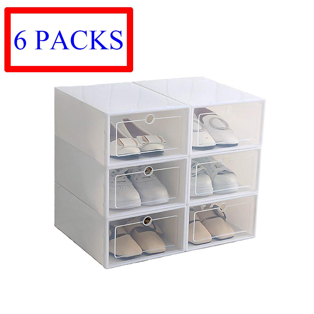 Hwalla Shoe Boxes Clear Plastic Stackable,Back to School,Shoe Box Size Storage Containers Lids (White, 6 Pack)