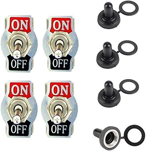 Qiorange 4 X 20a 125v 15a 250v Kippschalter Schalter Wippschalter Spst 2 Polig Ein Aus Metall Mit Wasserdicht Schutzkappe 4pcs Auto