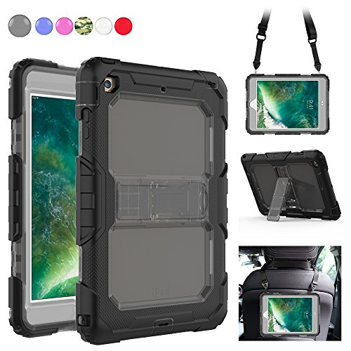 iPad Mini 1/2/3 Case, 3 Layers Rugged Full Body Shockproof Protection Case with Kickstand Portable Shoulder Strap Compatible for Apple iPad Mini 3/2/1 [Grey+Black] by SXTech