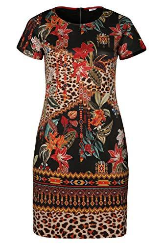 Damen aus Multi Bedrucktes große Größen Kleid Wildlederimitat PAPRIKA qxwB6pdSvB