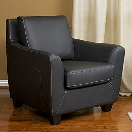 Barker Black Leather Modern Club Chair : black leather club chairs - Cheerinfomania.Com