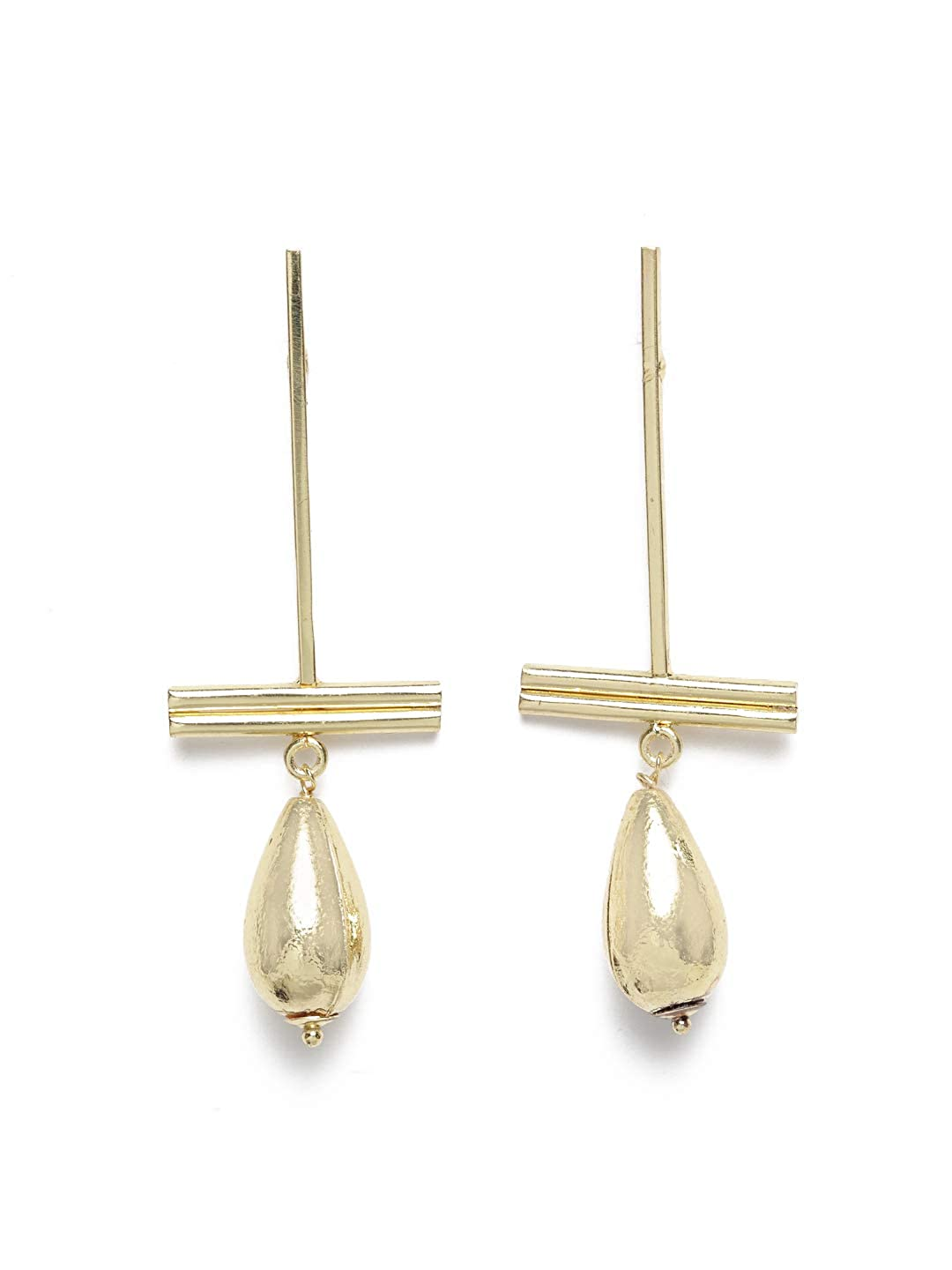 Diva Walk Gold-Toned Contemporary Drop Earrings-Onesize-Gold
