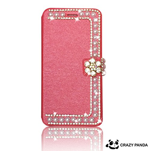 """Crazy Panda Deluxury IPHONE 6 pearl Case - 3D Bling Crystal Rhinestone Wallet Leather Purse Flip Card Pouch Stand Cover Case For Iphone 6 4.7"""" (hot pink)"""