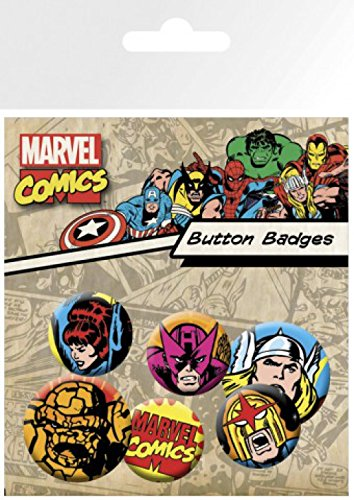 Set: Marvel Comics, Superheroes, 4 X 25mm & 2 X 32mm Badges Badge Pack (6x4 inches) And 1x 1art1® Surprise Sticker 1art1 GmbH