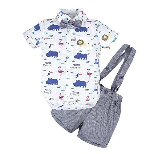 d29232f01 BIG ELEPHANT Baby Boys' 2 Piece T-Shirt Suspender Shorts Clothing Set