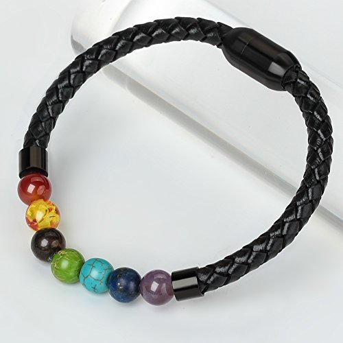 7 Chakra Real Stone Healing Bracelet Genuine Leather Braided with Magnetic Clasp Mens Best Gift 8.5""