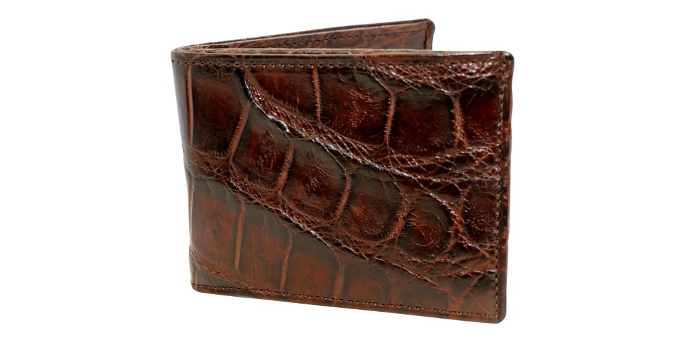 Brown Genuine Alligator Millennium Bifold Wallet – Alligator Inside and Out RARE - Factory Direct - Gift Box - Slim Billfold - Black Brown Cognac – Made in USA by Real Leather Creations FBA298