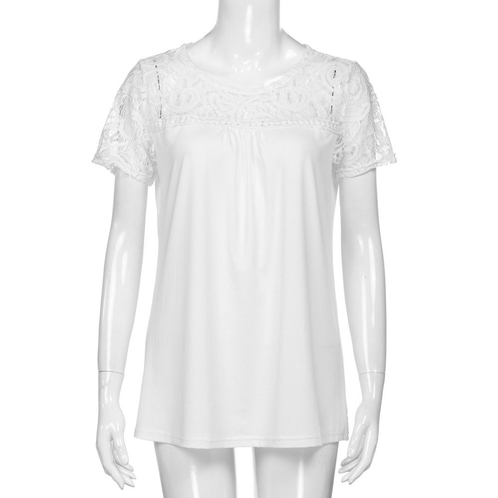 Siriay Women Shirts Lady Lace Hollow Out Tee Tops Solid Blouse Casual T-Shirt White by SIRIAY Women T-shirt (Image #2)