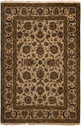 (eCarpet Gallery Runner Rug for Hallway, Entrance, Kitchen | Hand-Knotted Wool Runner Rug | Royal Kashan Bordered Ivory Rug 5'7