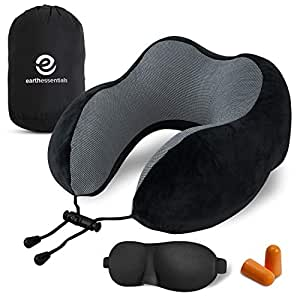 Earth Essentials | Travel Pillow Premium Memory Foam | Neck Comfort and Support | Fitted Eye Mask and Noise Blocking Ear Plugs Accessories Bundle