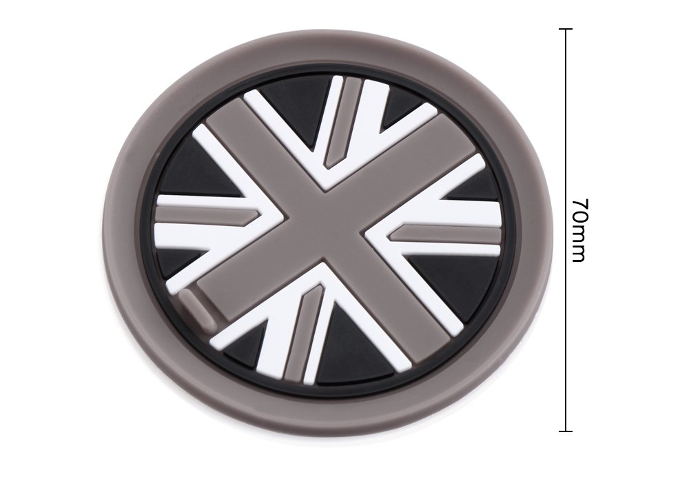 pour Mini Cooper R55/R56/R57/R58/R59/avant Cup Holders /motif carreaux/ /Damier Blanc Couvercle Porte-gobelet bi/ère en silicone 73/mm noir/
