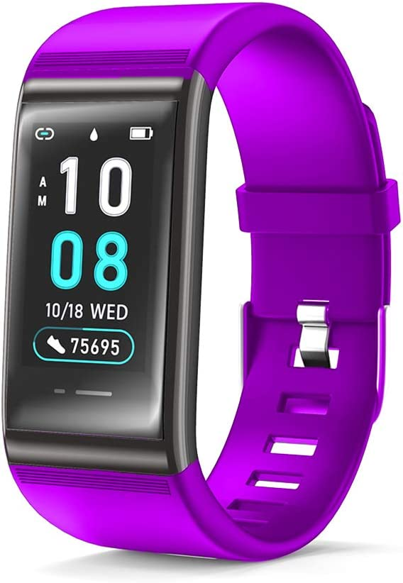 JREAR Fitness Trackers, Color Screen Fitness Watch Heart Rate Monitor Activity Tracker Fitness Wristband Smart Watch Blood Pressure Pedometer Waterproof IP67 with Stop