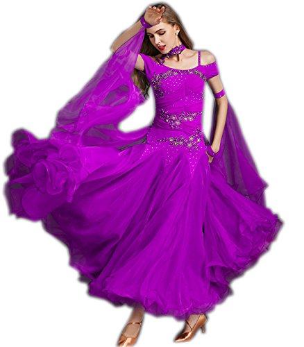 7a025190543da garuda 社交ダンス ドレスダンス衣装 素敵ロングワンピース パープル B074RXKFYX サイズS