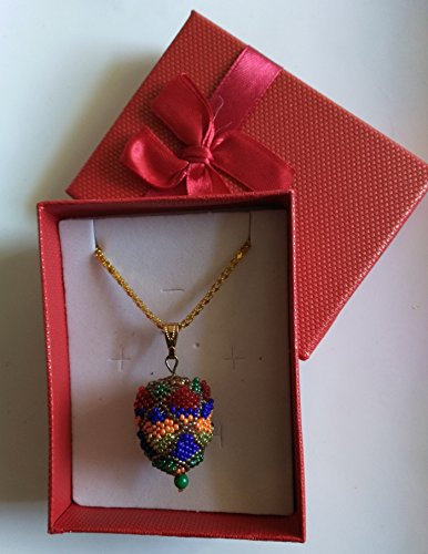 - Fabergé Inspired Easter Egg Pendant in Orange, Blue and Red