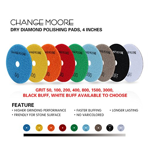 CHANGE MOORE Dry Diamond Polishing Pads 4'' for Marble Granite Travertine Terrazzo Concrete Stones, 2 pack-Grit 400 by CHANGE MOORE (Image #5)